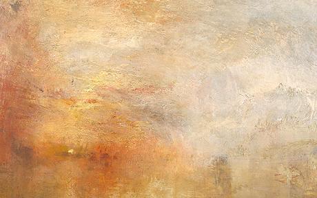 sun setting over a lake, Tate
